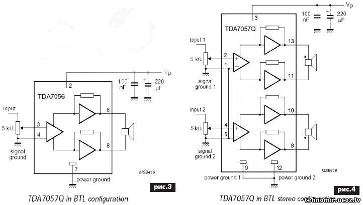 На рис2 показан внешний вид усилителя, собранного на микросхеме tda7056, на рис3 - его электрическая схема
